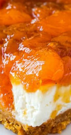 No Bake Cheesecake with Roasted Peach Jam ultimate peaches & cream! Great Desserts, No Bake Desserts, Delicious Desserts, Dessert Recipes, Yummy Food, Cherry Desserts, Baking Desserts, Dessert Ideas, Cake Ideas