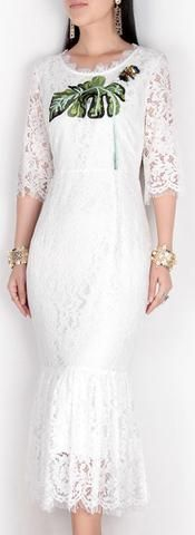 Banana-Leaf Embroidered Butterfly-Applique Lace Midi Dress-White