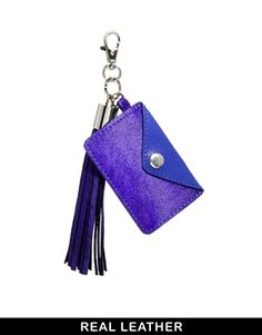 ASOS Leather And Pony Keyring With Tassel And Card Holder