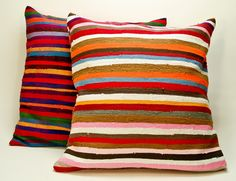 Recycled handwoven fabric cushions