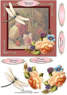 Vintage Floral 1 Quick Card Front on Craftsuprint designed by Maggie Skerrett - First of series of five vintage floral prints adorned with floral and butterfly decoupage elements. One sheet including card front, decoupage elements, and sentiment panels. Thank You for looking at my designs, please click on my name to see my other designs.  - Now available for download!