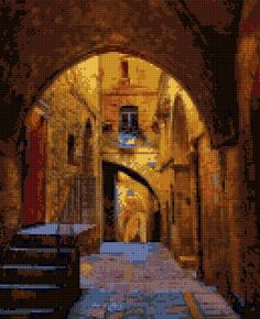 Ancient Jerusalem Courtyard Cross Stitch pattern PDF - EASY chart with one color…