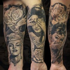 hear no see no evil see no evil portrait tattoo black and white sleeve idea. Marilyn Monroe, Audrey Hepburn and Elizabeth Taylor.
