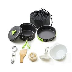 camping kitchen kit - Honest Portable camping cookware mess kit folding Cookset for hiking backpacking 10 piece Lightweight durable Pot Pan Bowls Spork with nylon bag outdoor cook equipment -- Click on the image for additional details. (This is an affiliate link) #CampingCooking