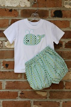 Boys Whale Applique Shirt and Bloomer Set with Polka Dots. $35.00, via Etsy.