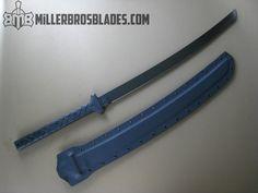 Miller Bros. Blades Katana.  This model is available in Z-Wear PM, CPM 3V, CPM S35VN, Z-Tuff PM and 5160 steels Miller Bros. Blades Custom Handmade Knives, Swords & Tomahawks.