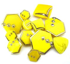 Czech Art Deco glass buttons in fabulous canary yellow with silver details, 12mm - 24mm