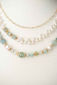 Serenity Multi strand Gemstone and Pearl Necklace Serenity - Cool colors define this unique handmade multi strand pearl and gemstone necklace for women Crystal Jewelry, Beaded Jewelry, Jewelry Necklaces, Silver Jewelry, Silver Ring, Gold Jewellery, Cute Jewelry, Bridal Jewelry, Vintage Jewelry
