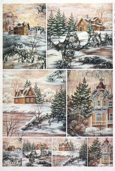 Rice Paper for Decoupage Decopatch Scrapbook Craft Sheet Winter Landscape