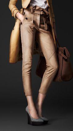 Gathered Waist Nubuck Trousers   Burberry