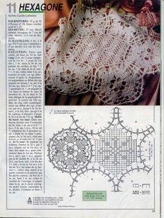 Photo from album Mailles № 144 on Yandex. Crochet Doily Patterns, Crochet Doilies, Crochet Top, Crochet Tablecloth, Crochet Magazine, Photos, Handmade, Yandex Disk, Table Runners