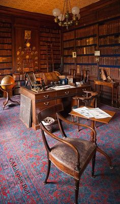 From the interior of Erddig Hall (NT), Wrexham, North Wales. Home Library Design, Office Interior Design, Office Interiors, House Design, Library Study Room, Dream Library, Book Study, Old Libraries, Bookstores