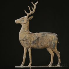 Sold for: $19,680 Molded Copper Stag Weathervane, America, late 19th century, flattened full-body figure, with molded sheet copper ears and antlers, mounted o...
