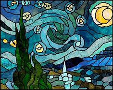 "Boehm Stained Glass Blog: Next project: ""Starry Night"" by Vincent Van Gogh - pattern by Chantal Pare."