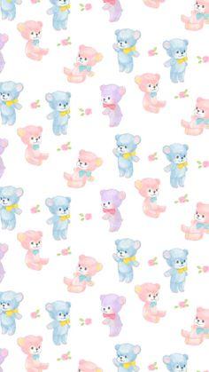 Cute Teddy Bears Pattern Bear Wallpaper, Kawaii Wallpaper, Pastel Wallpaper, Animal Wallpaper, Kawaii Background, Scrapbook Background, Cute Backgrounds, Wallpaper Backgrounds, Iphone Wallpaper