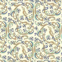 Blue Art Nouveau Lotus Print Paper ~ Rossi Italy