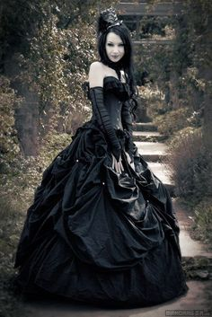 † GOTH FASHION †   Goth fashion is a clothing style worn by members of the Goth subculture; a dark, sometimes morbid fashion and style of dress.Typical Gothic fashion includes a pale complexion with colored black hair, black lips and black clothes.