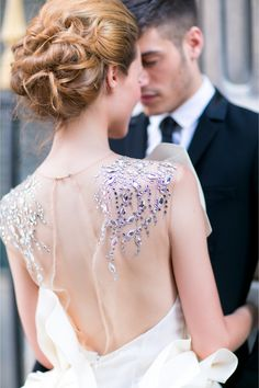 Gorgeous Paolo Corona Gown | One and Only Paris Photography http://burnettsboards.com/2013/12/candlelit-parisian-elopement/