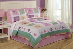 Spring Meadow Girls Quilt with Pillow Sham
