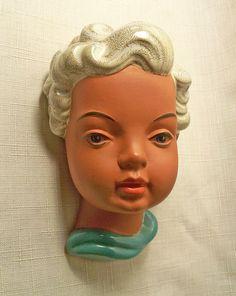 VTG GOLDSCHEIDER YOUNG GIRL TERRACOTTA WALL MASK WESTERN GERMANY # 538 MINT 50's | eBay