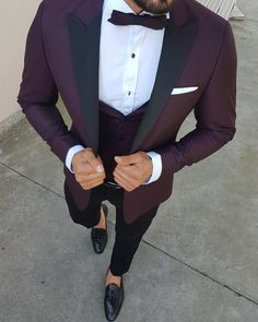 Available Size : Suit material : viscose , polyester , lycra Machine washable : No Fitting : slim-fit Cutting : double slits, cover pocket, double button Remarks : Dry Cleaner Red Tuxedo, Tuxedo Suit, Tuxedo For Men, Modern Tuxedo, Slim Fit Tuxedo, Slim Fit Suits, Mens Fashion Suits, Mens Suits, Costumes Slim