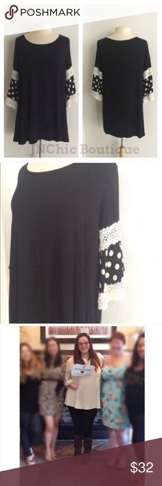 """BLOWOUT! Polka dot tunic Polka dot tunic. Rayon/ spandex. I personally own one and am obsessed with it! They are lightweight and flowy! Very true to size- I am a 2x/16/18 the 2x fits me perfectly 1x: L 30"""" B 42"""" 2x: L 30"""" B 44"""" 3x: L 31"""" B 46"""" Made in the USA ⭐️This item is brand new without tags Price is firm unless bundled ✅Bundle offers Availability: 1x• 2 Tops Tunics"""