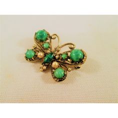 Vintage Green Butterfly Brooch Glass Bead Faux Pearl Figural Costume... (17 CAD) ❤ liked on Polyvore featuring jewelry, brooches, vintage jewellery, vintage butterfly brooch, vintage broach, costume jewellery and vintage costume jewelry brooches