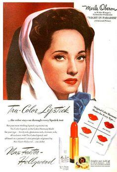 Merle Oberon for Max Factor Tru-Color Lipstick, October 1945. #vintage #makeup #1940s #ads