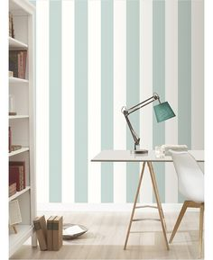 This Stripe Wallpaper by Rasch features a matte duck egg blue stripe alternating with a matte white stripe for an eye-catching look.
