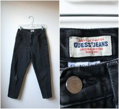 1990s GUESS high waist black jeans  skinny by PlatinumAndRust, $29.00