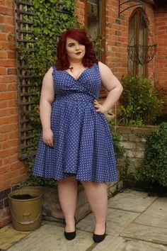 BBW Couture Blue Polka Dot 1950s Vintage Party Dress, vintage plus size, plus size fashion blogger, georgina grogan, shemightbeloved