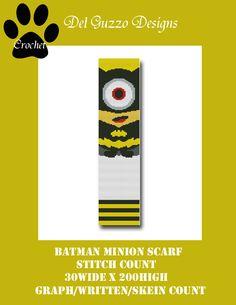 (4) Name: 'Crocheting : Batman Minion Scarf Crochet Graph