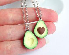 Groene avocado bff vriendschap ketting hanger hart put Valentines love bff cadeau bb huidige ketting beste vriend gezonde voeding miniatuur
