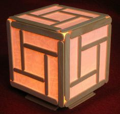 Mini popsicle cube lamp I designed this small lamp for my summer camp students who built the 8 watt stereo amplifier. Before they attempted to solder all the components for the amp i let them solder the switch and light f… Popsicle Stick Crafts For Adults, Popsicle Stick Art, Popsicle Crafts, Pop Stick, Ice Cream Stick Craft, Craft Stick Projects, Craft Stick Crafts, Diy And Crafts, Arts And Crafts