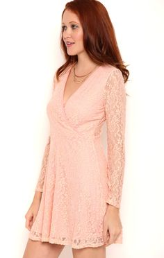 Deb Shops Lace Skater Dress with Surplice Bodice and Three Quarter Sleeves $24.15