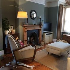 Farrow & Ball Pigeon - too dark for my living room Farrow And Ball Living Room, Dark Living Rooms, New Living Room, Interior Design Living Room, Living Room Designs, Living Room Decor, Living Area, Interior Decorating, Dining Room