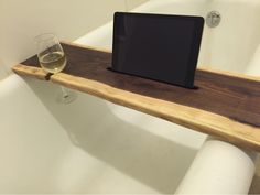 live edge black walnut bath tray with ipad and wine glass holder. ...