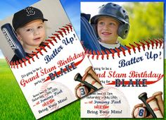 "Baseball Birthday Party - Invitation - ""Batter Up"" - PERSONALIZED with Age and Photo - ALL STAR on Etsy, $15.00"