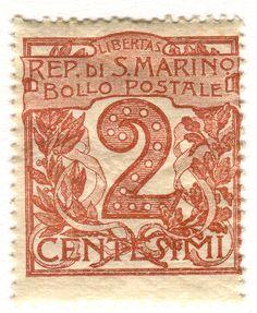 San Marino Postage Stamp: 2 Centesimi