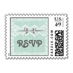 White V-shaped lace,mint burlap wedding RSVP Postage Stamps
