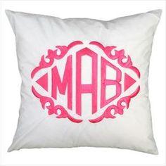 Personalized Pillow - White Monogrammed Throw Pillow