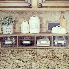Kitchen Decorating Counter Organizer with Metal Basket Storage Drawers - Farmhouse kitchen design tugs at the heart as it lures the senses with elements of an earlier, simpler time. See the best decoration ideas! Kitchen Decorating, Farmhouse Kitchen Decor, Kitchen Redo, Country Farmhouse, Kitchen Storage, Farmhouse Design, Modern Farmhouse, Kitchen Backsplash, Room Kitchen
