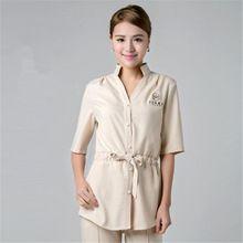 Free scrub shirt pattern slim pattern fabric nurse for Spa uniform patterns