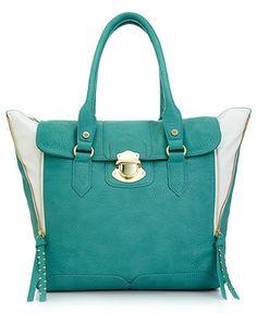 Steve Madden Handbag, Holden Tote in turquoise. At Macy's.