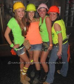 Lumberjack and construction worker college halloween lets get cute girl group halloween costume idea construction workers solutioingenieria Image collections