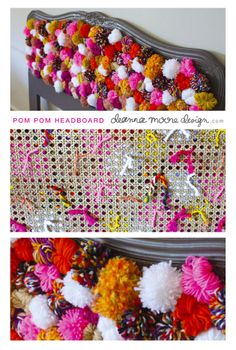 Deanna Moore Design: Search results for pom pom headboard Cute Crafts, Diy And Crafts, Arts And Crafts, Pom Pom Crafts, Yarn Crafts, Bar Outdoor, Pom Pom Rug, Diy Headboards, Boho Diy