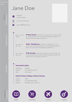 Nieuw CV - Design ! #CV #Curriculum #Vitae #Resume #Purple #Infographic