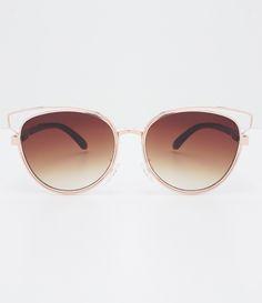 Óculos de sol feminino Modelo redondo Hastes em metal Lentes degradê  Proteção contra raios UVA   f0ba8cbfb0