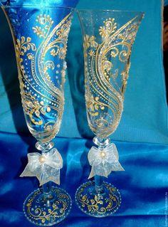 """Купить Свадебные бокалы """"Нежное золото"""" - золотой, свадебные бокалы, фужеры, подарок, на свадьбу"""