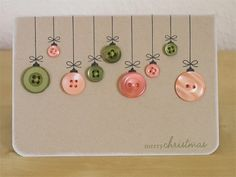 DIY holiday crafts - great idea for teacher holiday cards Holiday Fun, Christmas Holidays, Christmas Decorations, Merry Christmas, Christmas Buttons, Christmas Ornaments, Button Christmas Cards, Christmas Vacation, Christmas Shirts